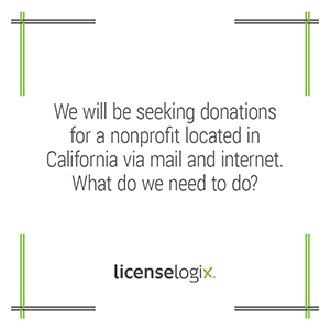 What is needed for a nonprofit to seek donations via mail and online in California