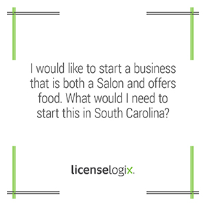 How can I start a salon that offers food in South Carolina