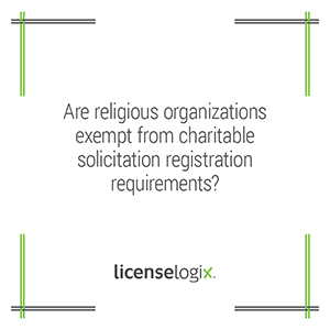 Are religious organizations exempt from charitable solicitation registration requirements